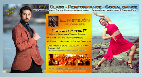 Tango Performance & Class with Sergio Martin Almiron & Fayzah. NYC